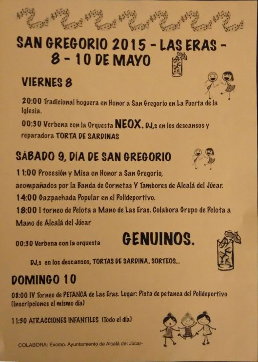 Cartel Fiestas San Gregorio 2015